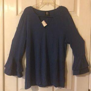 NWT royal blue bell sleeve top